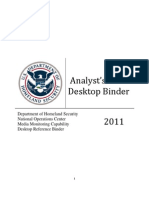 DHS Analyst's Desktop Binder - 2011 [REDACTED]