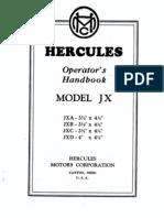 Hercules Operator's Handbook Model JX