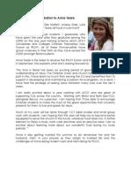 Anna Teare Prayer Letter