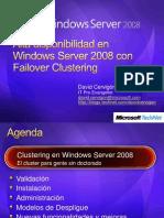 Alta Disponibilidad en Windows Server 2008 Con Failover Clustering