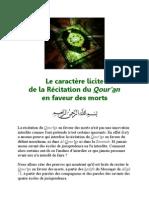 Le caractère licite de la Récitation du Coran en faveur des morts