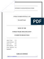 Public International Law- Project WTO and Dispute Settlement