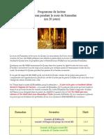 Programme de Lecture Du Coran en 20 Jours