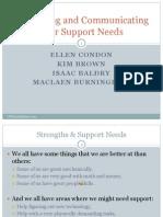 Identifying Communicating Support Needs