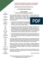 Pronunciamiento Frente al Genocidio Indígena en Colombia
