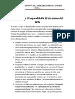 Acta de La Comision de Liturgia Del Dia 19 de Marzo Del 2012
