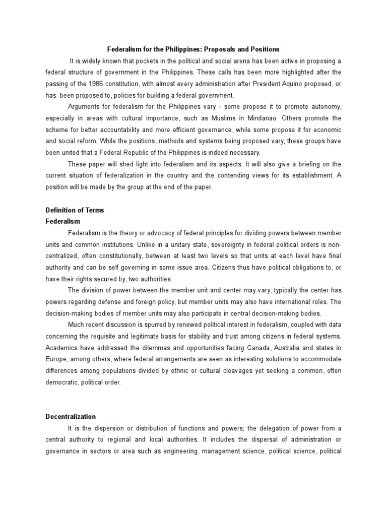 Position Paper On Federalism In The Philippines  Confederation  Position Paper On Federalism In The Philippines  Confederation  Federalism