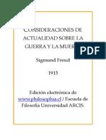 Freud, Sigmund - Consideraciones de Actualidad Sobre La Guerra y La Muerte