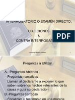 INTERROGATORIO O EXAMÉN DIRECTO, OBJECIONES & CONTRA INTERROGATORIO - Leonardo Moreno