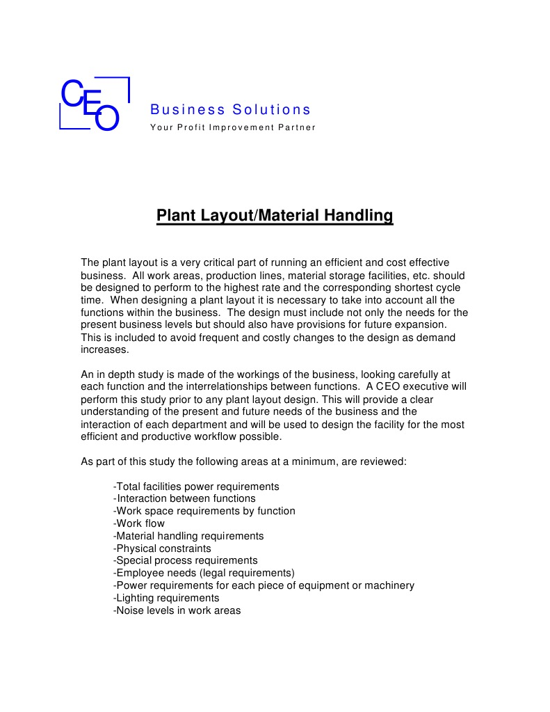 Plant Layout Material Handling 2 Business Technology Power Design