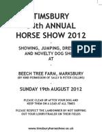 Timsbury Show Schedule 2012