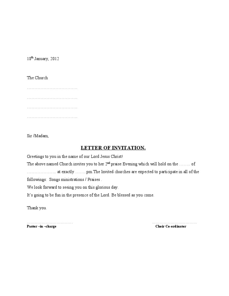 Perfect Choir Letter Of Invitation.