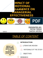 Impact of Emotional Intelligence on Managerial Effectiveness