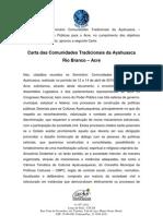 Carta Comunidades Tradicionais Ayahausca Rio Branco 2010