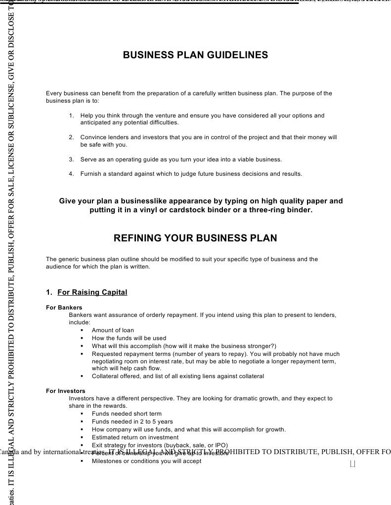 business plan guidelines copyright profit economics
