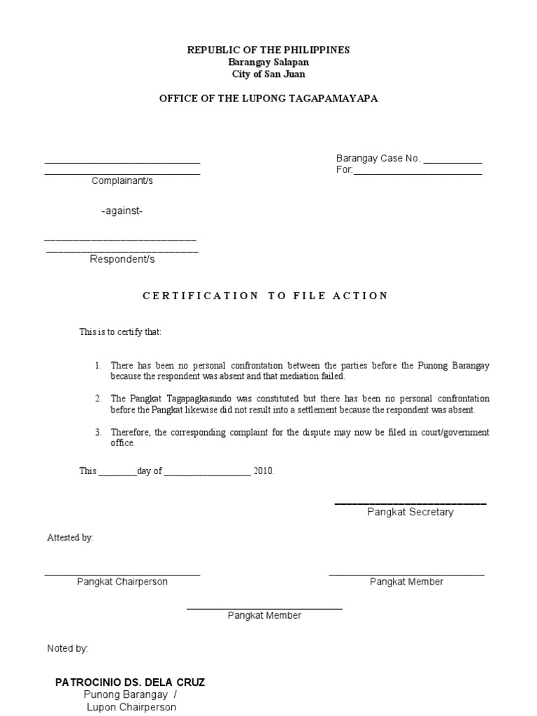 Certificate to file action format complaint mediation 1betcityfo Image collections