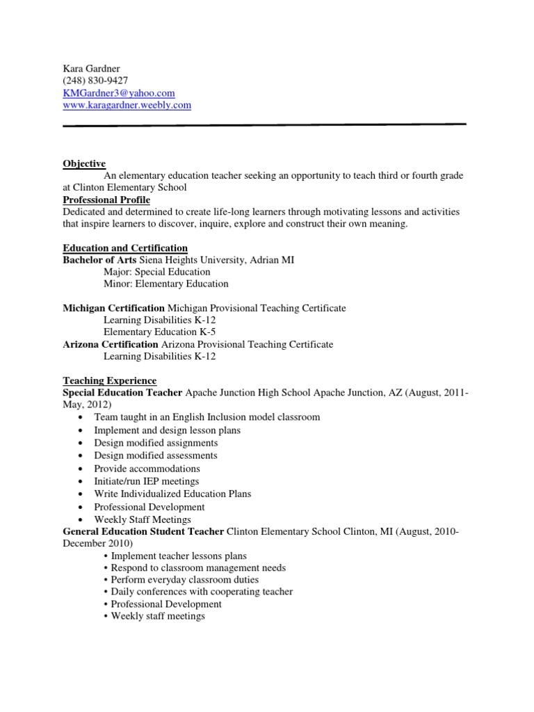 Revised Resume Special Education Individualized Education Program