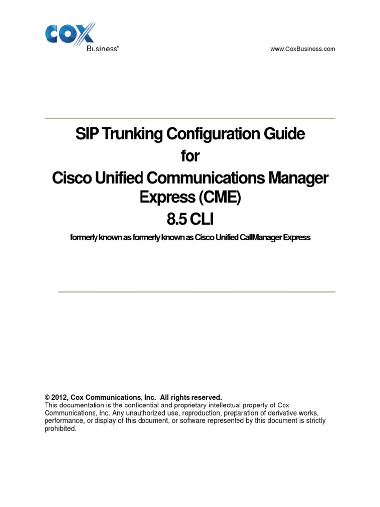 Sip Config Guide Cisco Unified Cme | Session Initiation Protocol