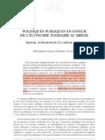 NUNES 2007 Politiques Publiques en Faveur de l'Economie Solidaire Bresil