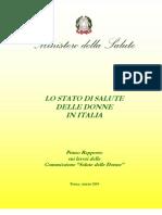 Lo Stato Di Salute Delle Donne in Italia - Ministero Della Salute (2008)