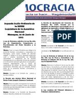 Barómetro Legislativo diario martes, 26 de junio de 2012