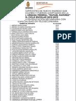 """LISTA DE NUEVO INGRESO ESCUELA NORMAL URBANA FEDERAL """"RAFAEL RAMIREZ"""" PARA EL CICLO ESCOLAR 2012-2013"""