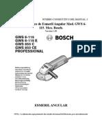 36116301 Manual Basico de Esmeril Angular Mod GWS 6 115 Mca Bosch