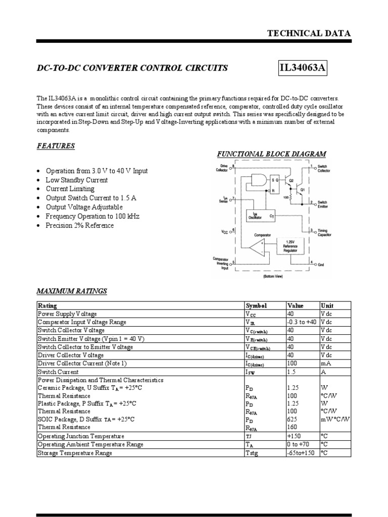 Buck Booster 34063an Switch Electrical Components Current Limit Circuit