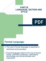 Formal Language and Diction
