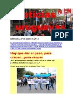 Noticias Uruguayas miércoles 27 de junio del 2012