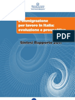 L'Immigrazione Per Lavoro in Italia - Ministero Del Lavoro 2011