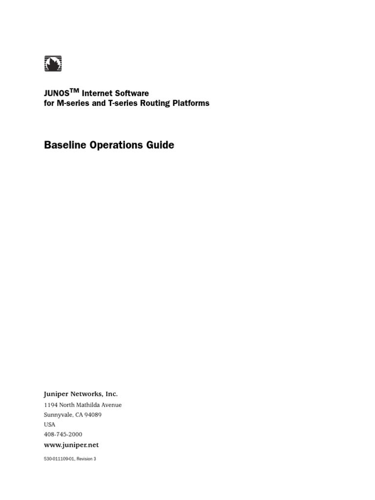 Juniper Baseline Operation Guide | Router (Computing