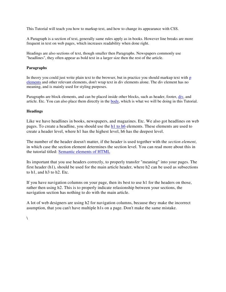 Paragraphs: p elements   Html   Html Element