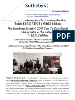Sotheby's London Contemporary Evening Sale Sees YTD Total Up 25% On Last Year