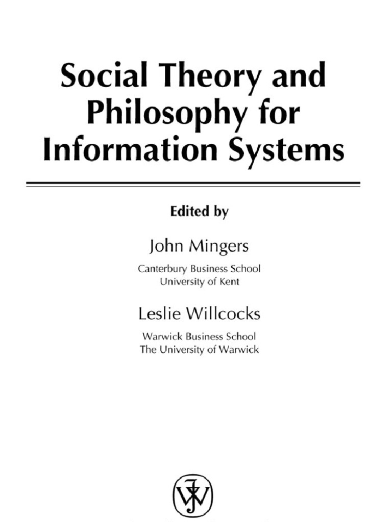 059EB_Social Theory and Philosophy for Information Systems0470851171 ...