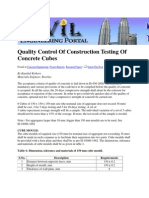 Quality Control of Construction Testing of Concrete Cubes