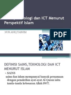 Sains Teknologi Dan Ict Menurut Perspektif Islam