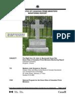 Sir John A Macdonald Grave Site Monitoring Report 2011