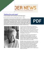 """Splitting the world open:"" in conversation with memoirist Judith Barrington"