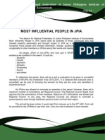 IRR for Most Influential People in JPIA FY 2012-2013