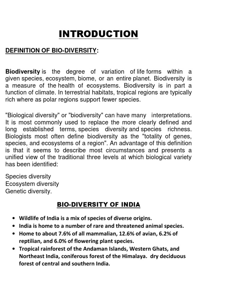 definition of bio | biodiversity | wildlife
