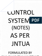 Control Systems (Cs) Notes as Per Jntua