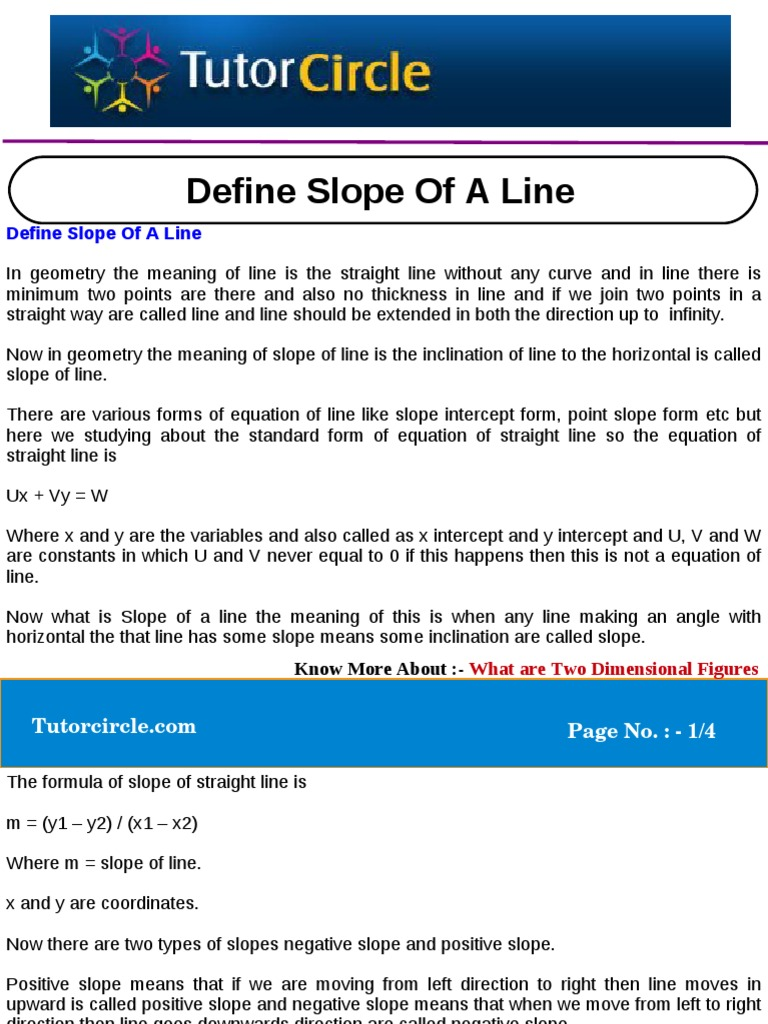 Define slope of a line line geometry slope falaconquin