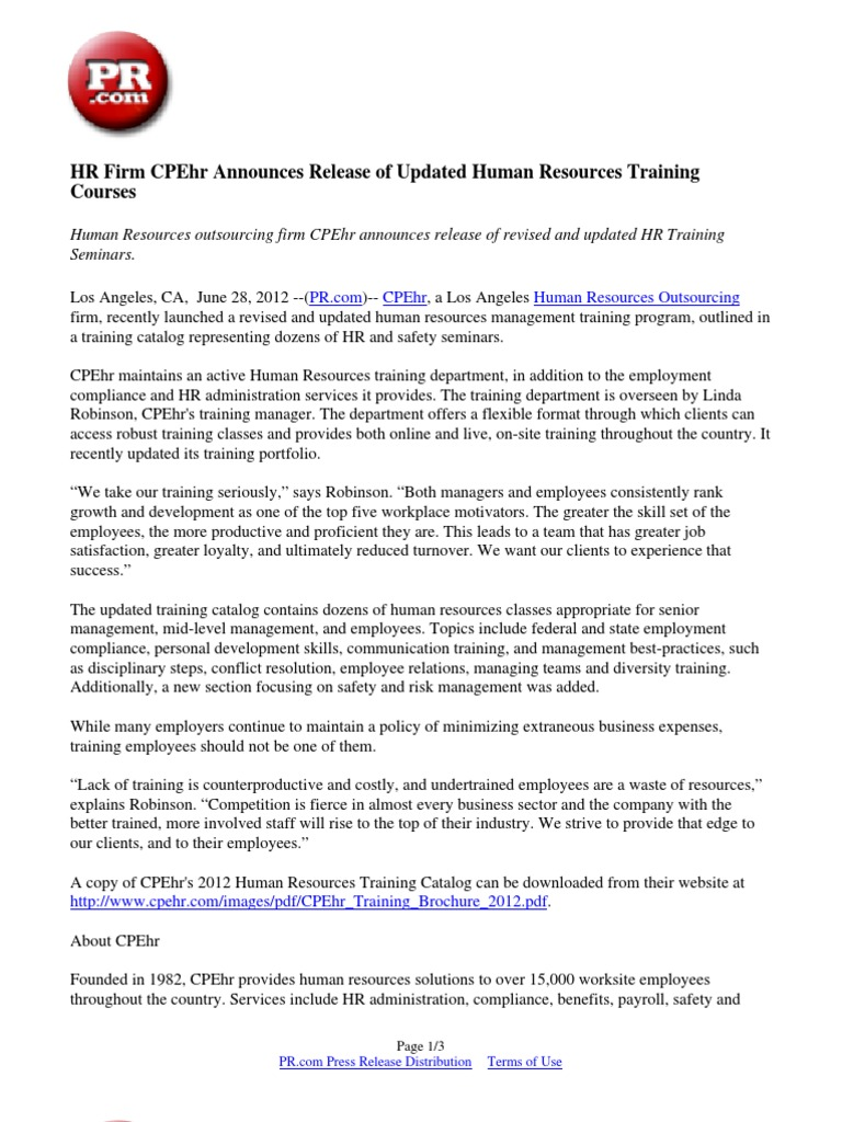 Hr Firm Cpehr Announces Release Of Updated Human Resources Training
