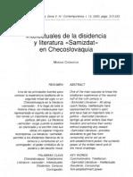 """Intelectuales de la disidencia y literatura """"Samizdat"""" en Checoslovaquia"""