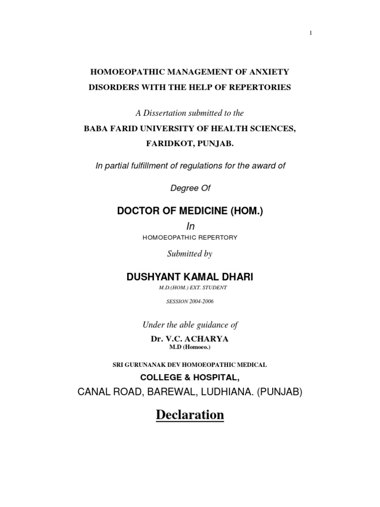 homoeopathic thesis topics