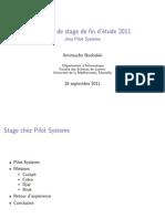 Rapport de stage de fin d'étude 2011
