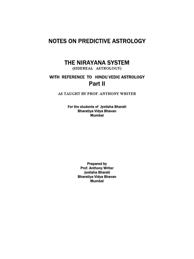 notes on predictive nirayana astrology part ii astrology astronomy