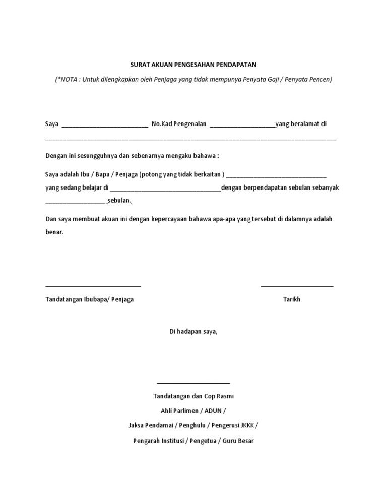 Contoh Surat Pengesahan Pendapatan Pdf