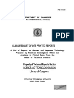 A List of Reports on German and Japanese Technology Prepared by American Investigators